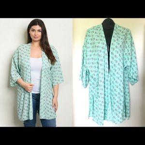 Mint Elephant Print Kimono Plus 1X 2X 3X New